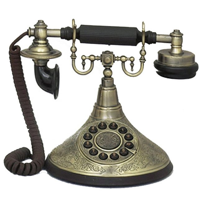 Urban Designs Antique Reproduction Functional 1920's Brass Cradle Push Button Telephone