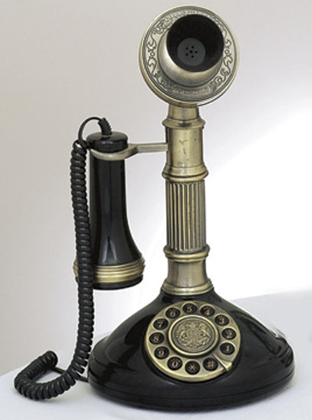 Antique Reproduction Functional Classic 1910 Roman Column Candlestick Telephone