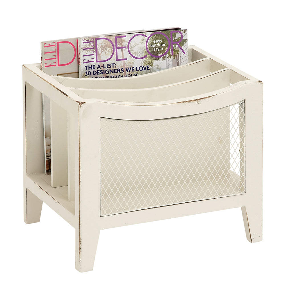Urban Designs Weathered Wooden Magazine Rack - Beige