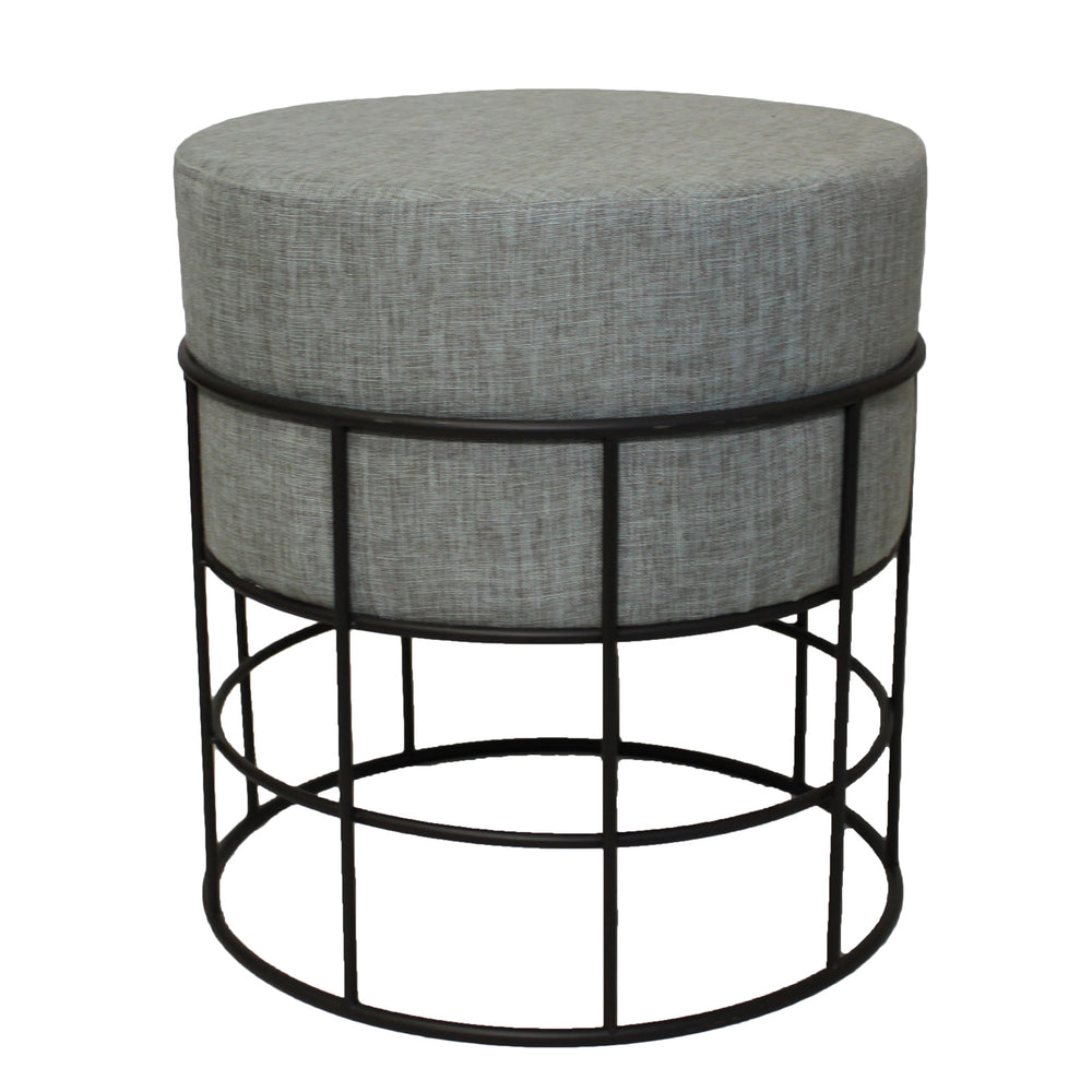Urban Designs Indoor and Outdoor Round Metal Fabric Ottoman Stool - Grey