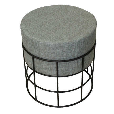 Urban Designs Round Metal Fabric Ottoman Stool - Grey