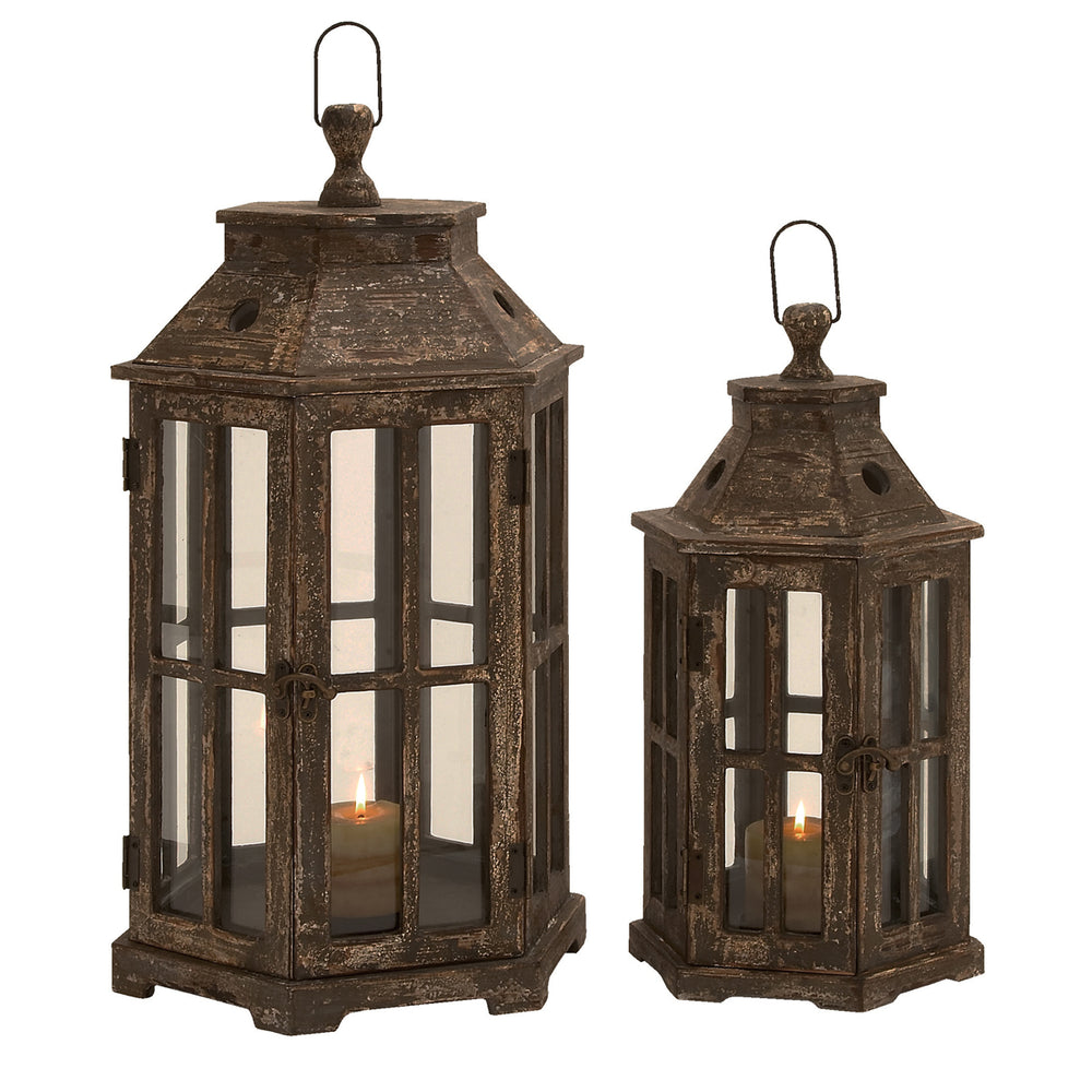 Urban Designs Weathered Wood 2-Piece Hexagonal Lantern Candle Holder Set