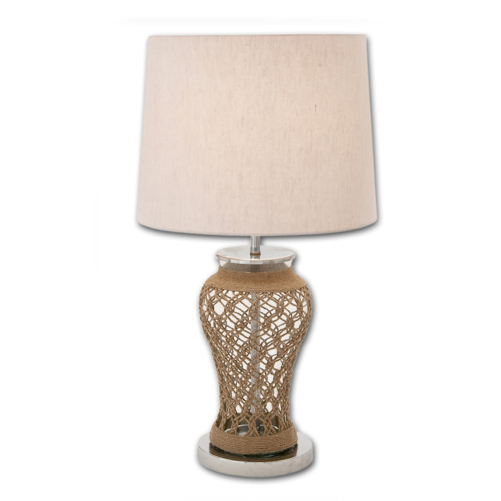 Urban Designs 28-Inch Clear Glass and Jute Table Lamp