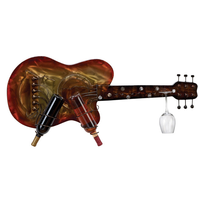 Urban Designs Kingston Wall Mounted Sunburst Metal Guitar 2-Bottle Wine Rack and Glass Holder