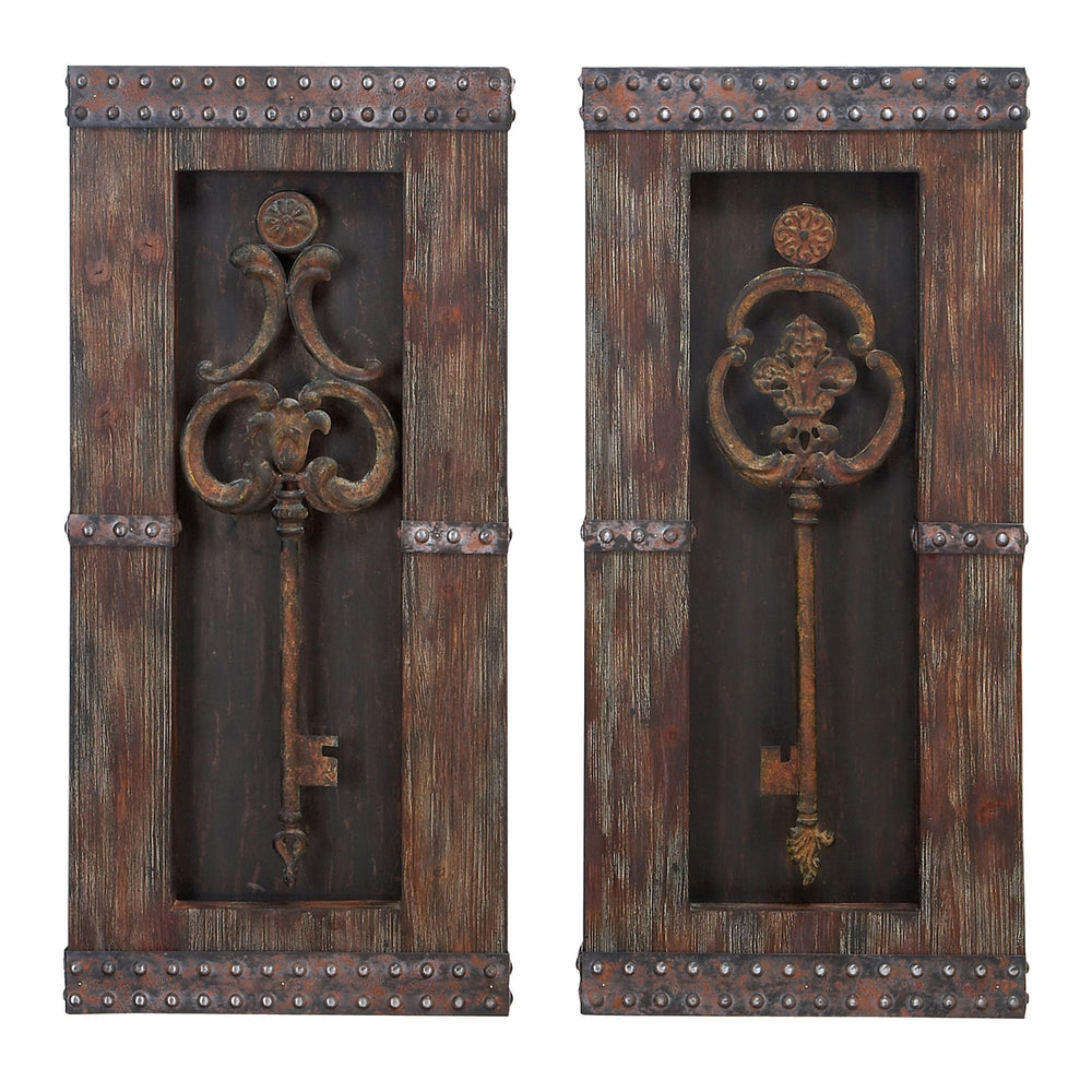 Urban Designs Vintage Metal Keys Wall Art Decor - 2 Piece Set