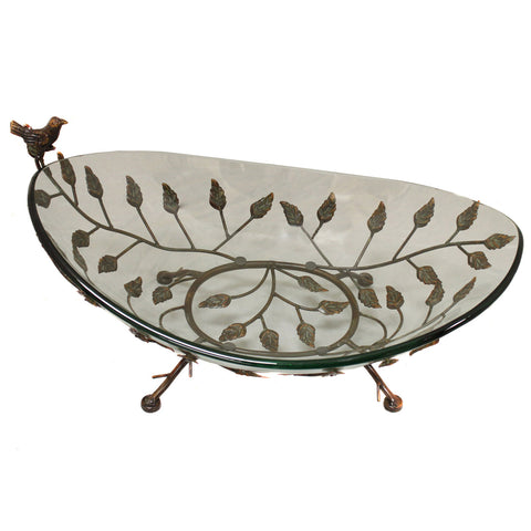 Urban Designs Foliage Large Glass Bowl Center Piece with Metal Stand