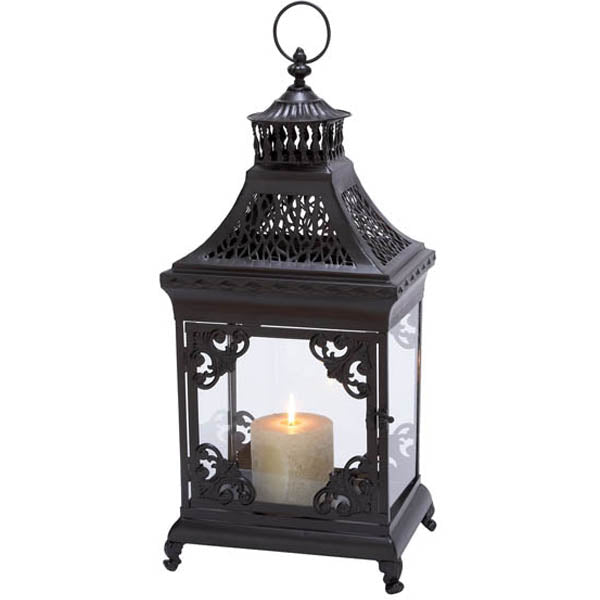 Urban Designs Powder Coated Black Metal Antique-Style Lantern Candle Holder