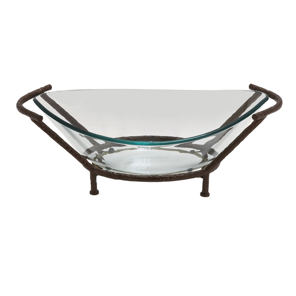 Urban Designs The Liam Oval Glass Bowl Center Piece with Metal Stand
