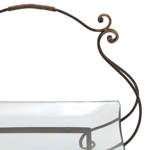 Urban Designs The Gordon Rectangular Glass Serving Tray with Metal Stand