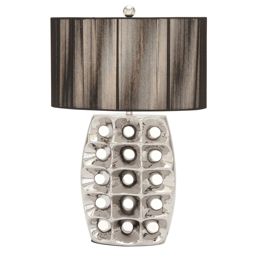 "Urban Designs Artisan 28"" High Brushed Silver Ceramic Table Lamp with Black Drum Shade"