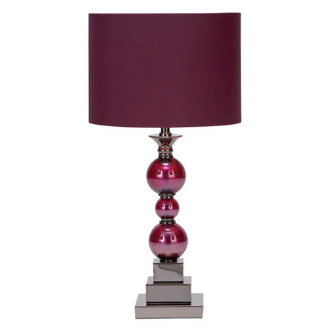 Urban Designs Loft Chic Metal & Glass Table Lamps (Set of 2) Purple Red