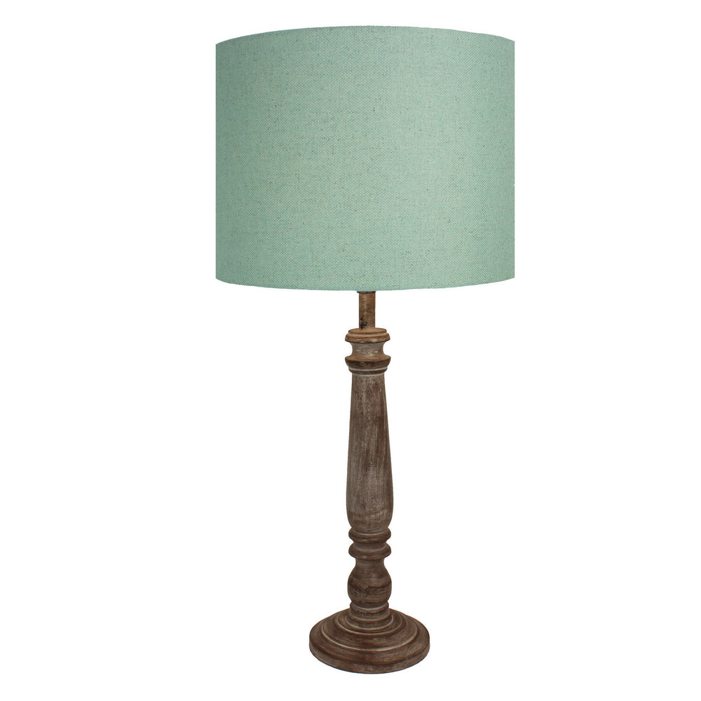 Urban Designs 29-Inch Candlestick Greywash Wood and Round Green Linen Table Lamp
