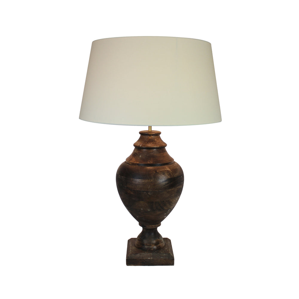 Urban Designs 35-Inch Handcrafted Round Wood and Round White Table Lamp