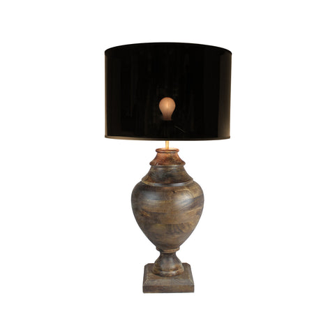 Urban Designs 34-Inch Handcrafted Round Wood and Drum Metallic Brown Table Lamp