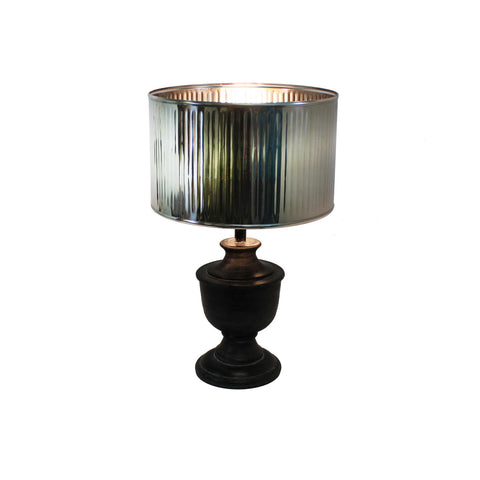 Urban Designs 20-Inch Round Wood Dark Gray Wash and Drum Silver Metal Table Lamp
