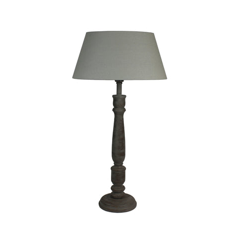 Urban Designs 27-Inch Rusted Wood and Oval Fabric Gray Table Lamp