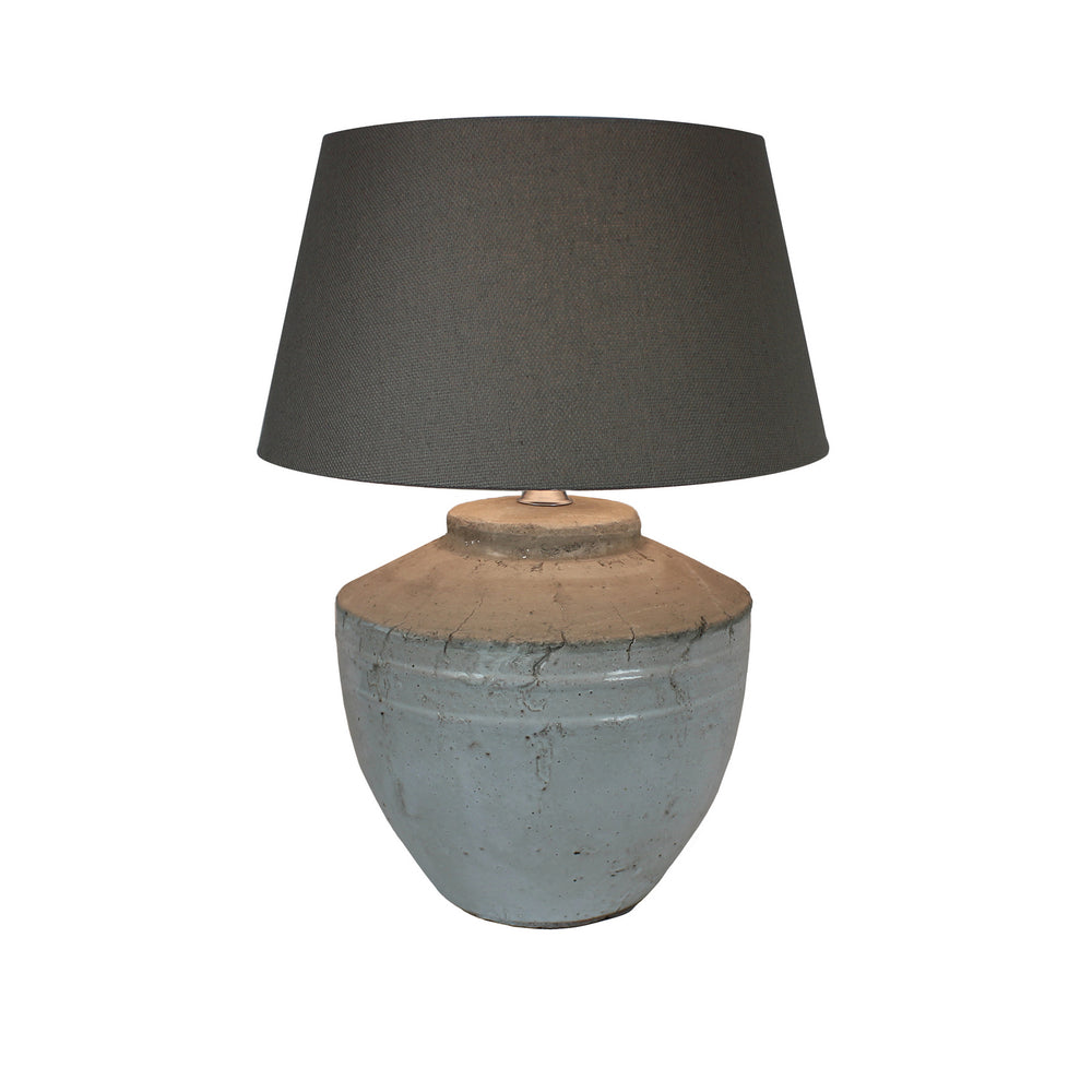 Urban Designs 22-Inch Antique Round White Gray Wash Ceramic Table Lamp