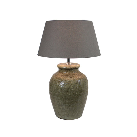 Urban Designs 22-Inch Antique Olive Ceramic and Round Brown Textile Table Lamp