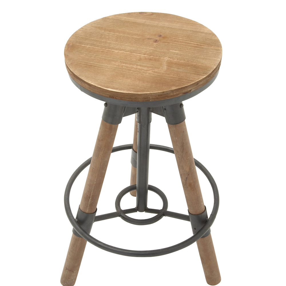 Urban Designs Adjustable Height Sturdy Wood Metal Bar Stool
