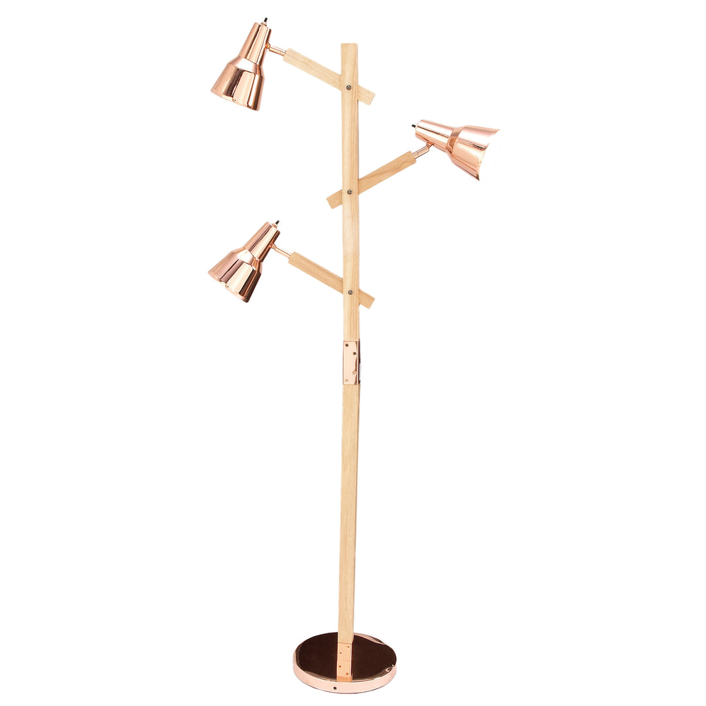 "Urban Designs Cadiz Copper Wood 66"" Executive Floor Lamp"