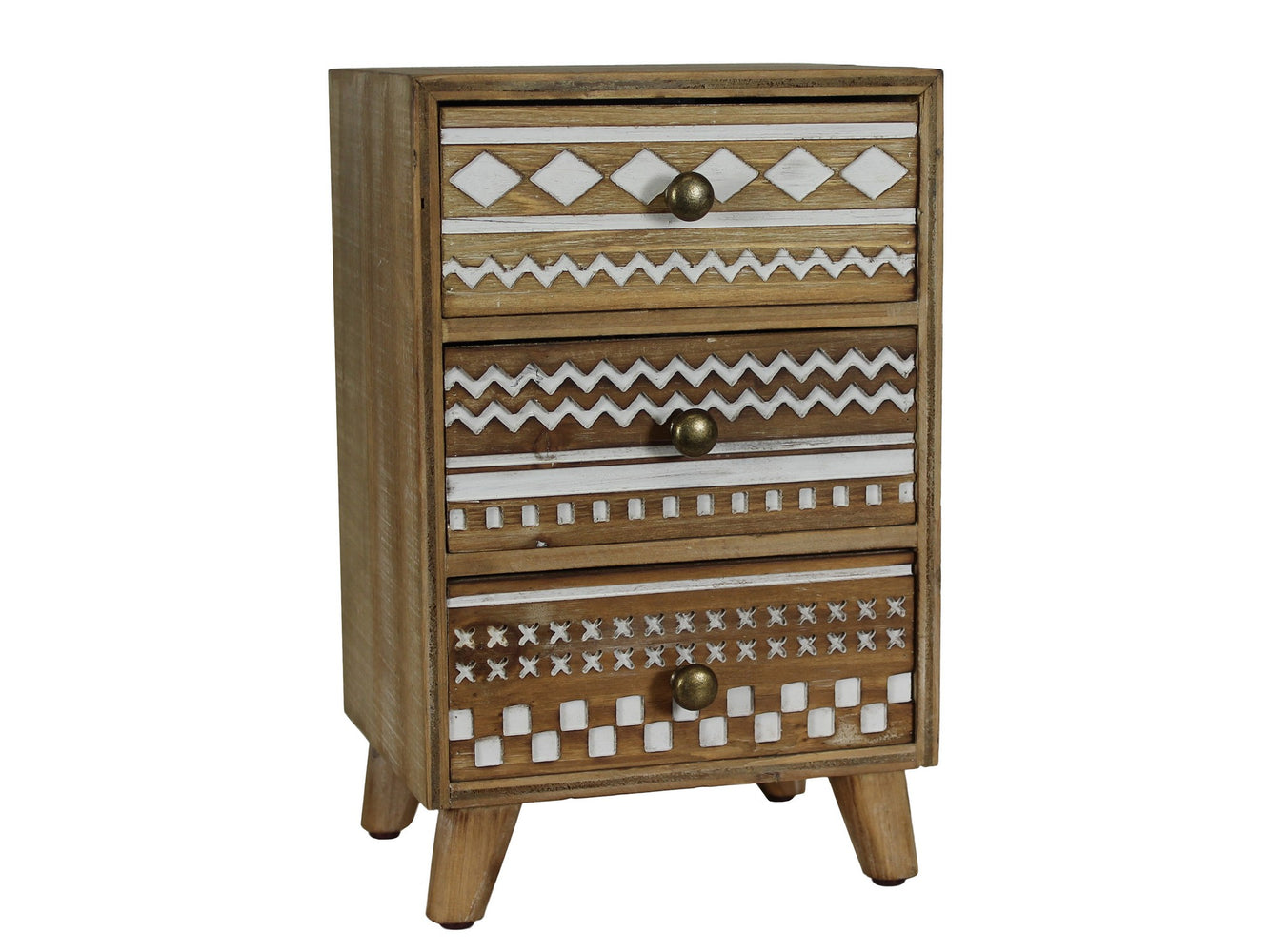 Urban Designs Basic Art 3-Drawer Wood Jewelry Box