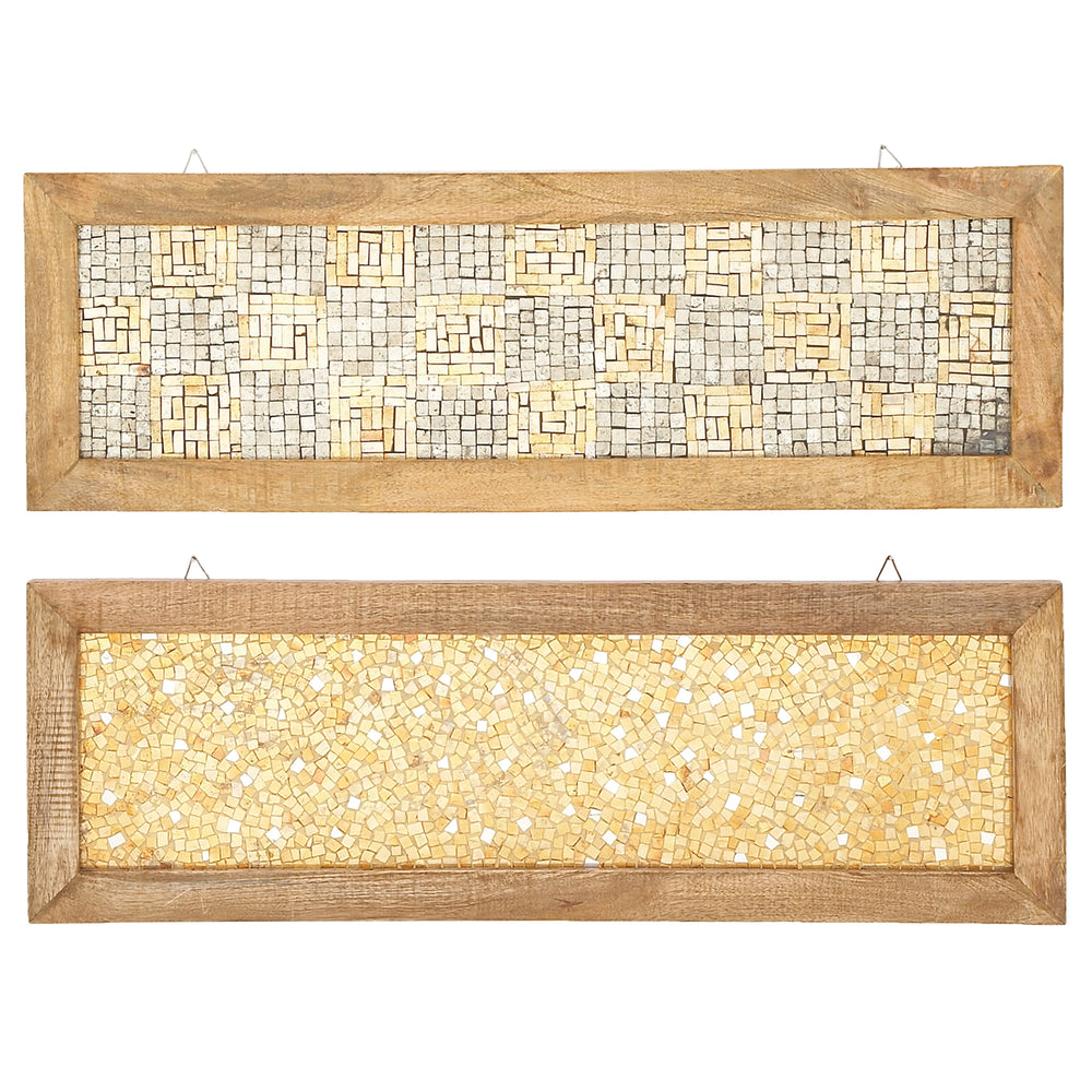 Urban Designs Glass vs Stone Wooden Mosaic Wall Art