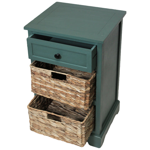 Urban Designs Malibu 3-Drawer Night Stand with Wicker Baskets - Teal