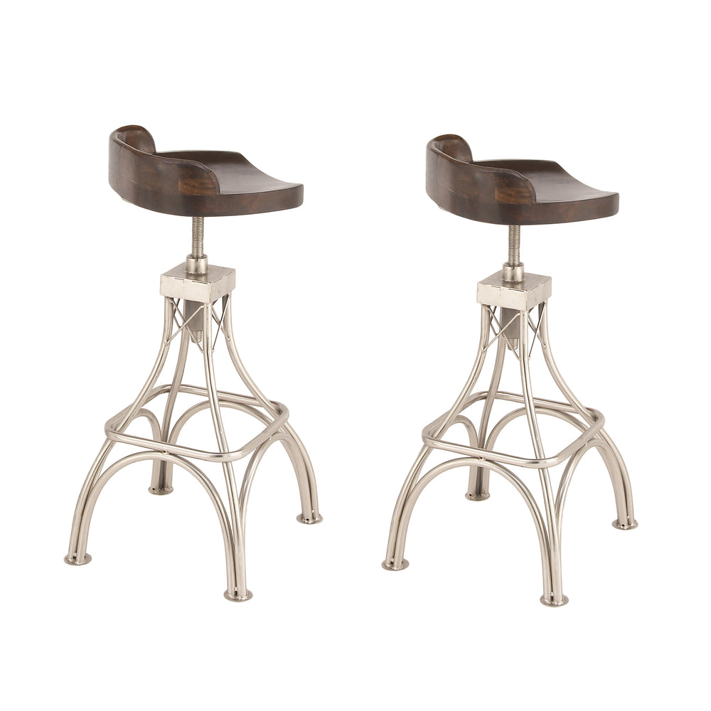 Urban Designs Adjustable Height 2-Piece Set Wood Metal Bar Stool - Dark Brown