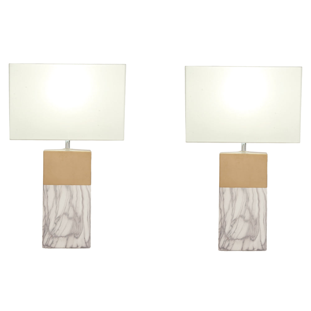 Urban Designs 25-Inch Rectangular Column Ceramic 2-Piece Table Lamp Set - Grey