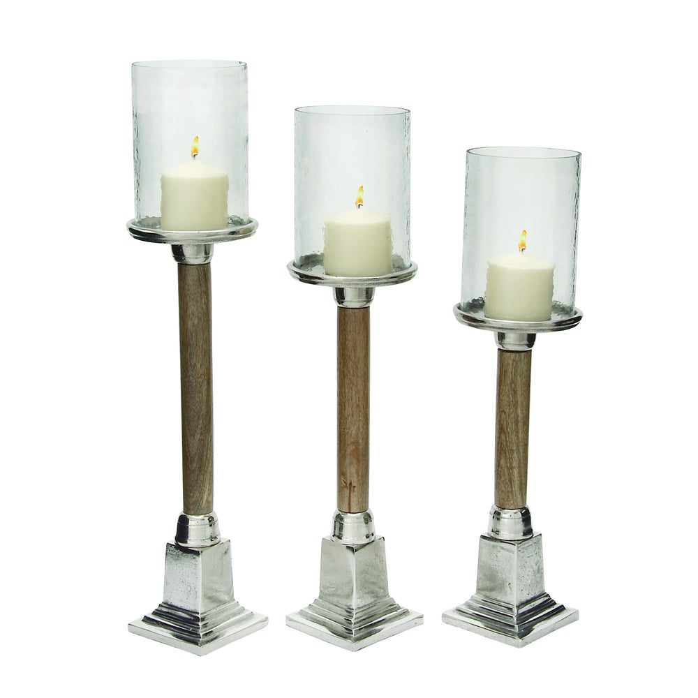 Urban Designs Risto Wood Metal Candle Holder - Set of 3