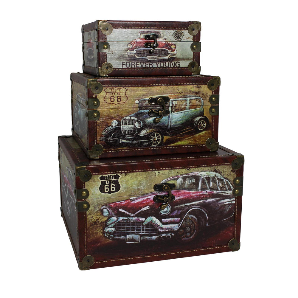 Urban Designs Old Fashion Route 66 Cars 3-Piece Decorative Box Set