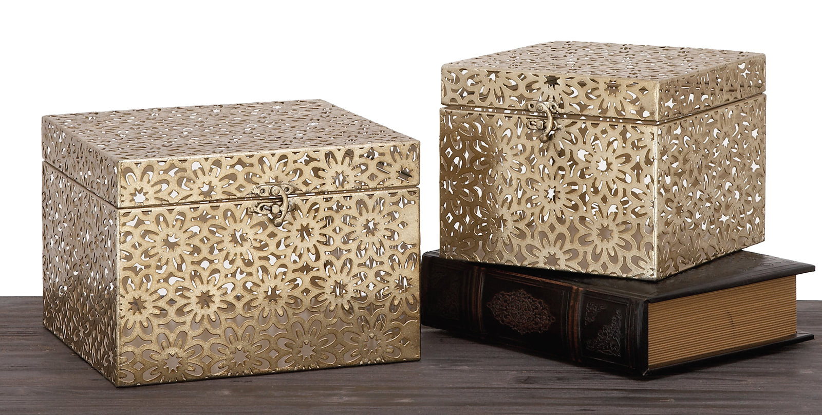 Urban Designs Champagne 2-Piece Metal Keepsake Decorative Box