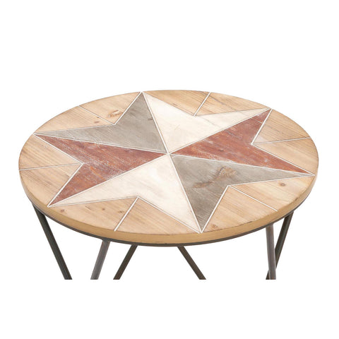Urban Designs Rustic Round Wood Side Accent Table