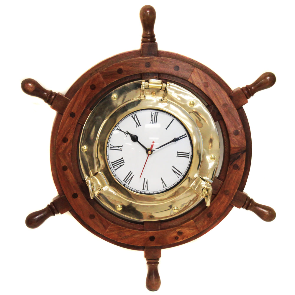 Urban Designs Nautical Ship's Wheel Brass Porthole Wall Clock