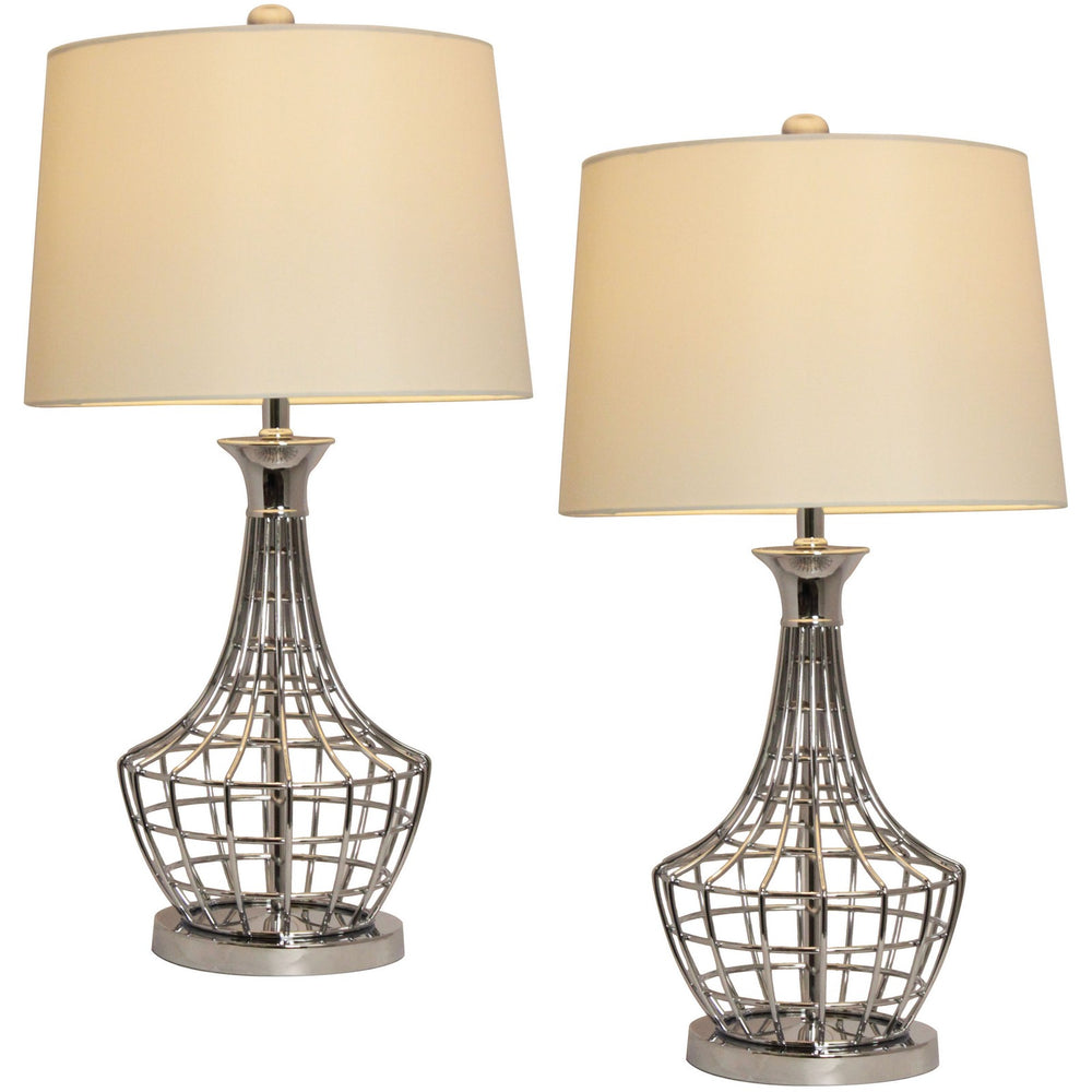 Urban Designs Tall Metal Cage Table Lamp - Set of 2