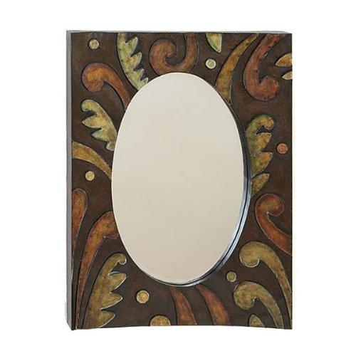 "Handcrafted Metal 32"" Imported Wall Oval Beveled Mirror"