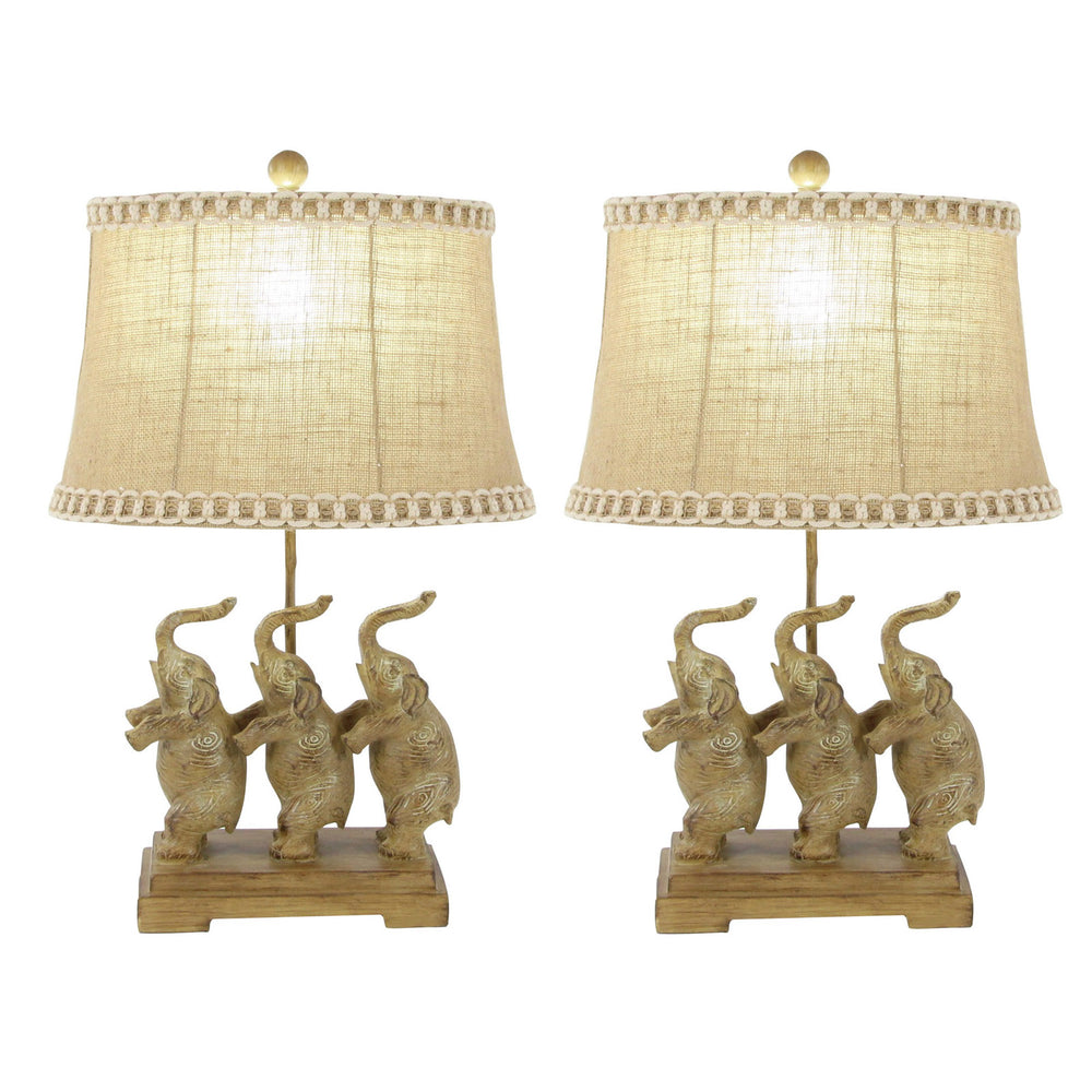 Urban Designs Standing Elephant Trio 24-inch Table Lamp Set
