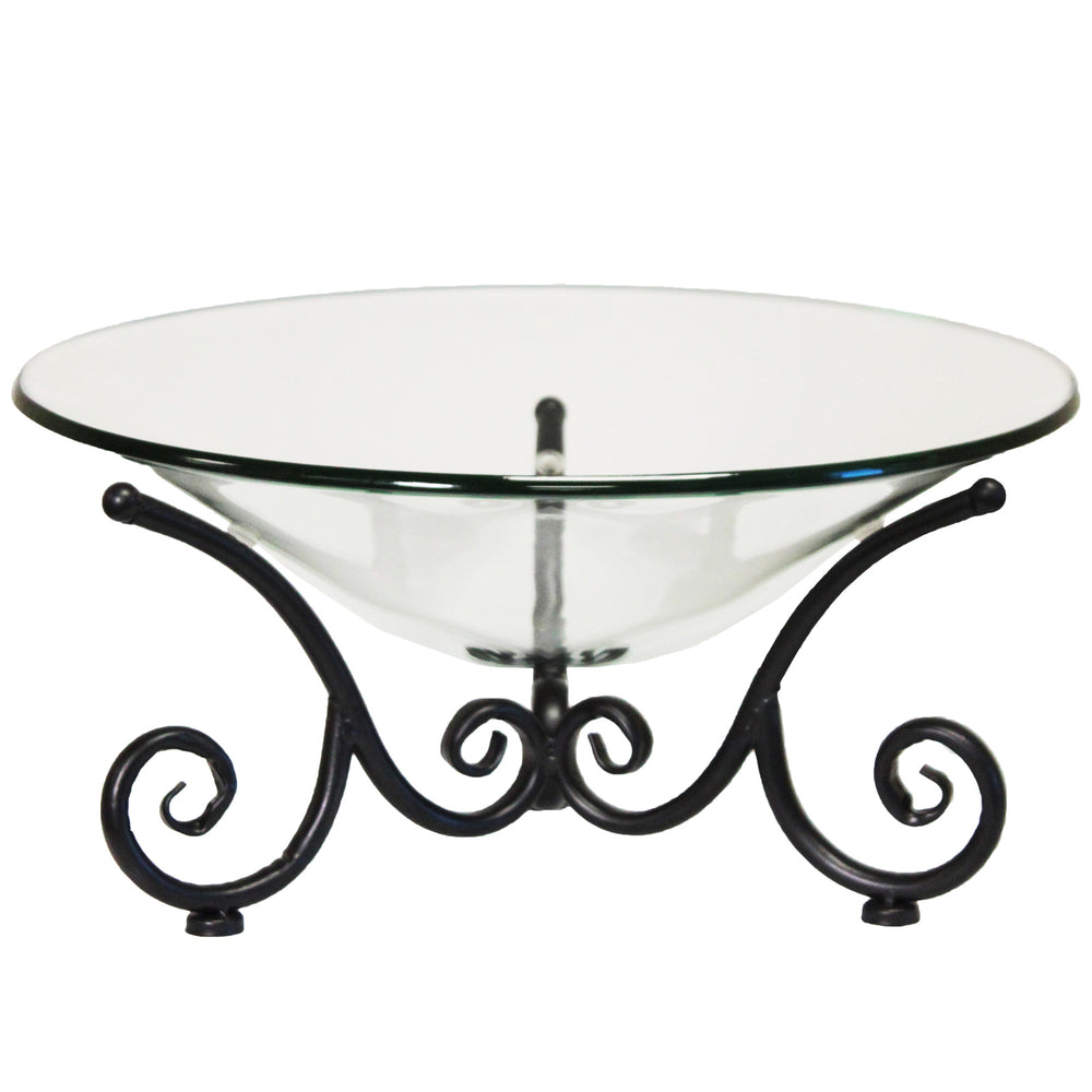 Urban Designs Decorative Iron Scroll Stand with Round Glass Bowl