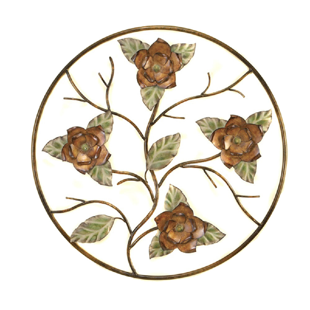 Handcrafted Decorative Flower Bloom Round Metal Wall Art