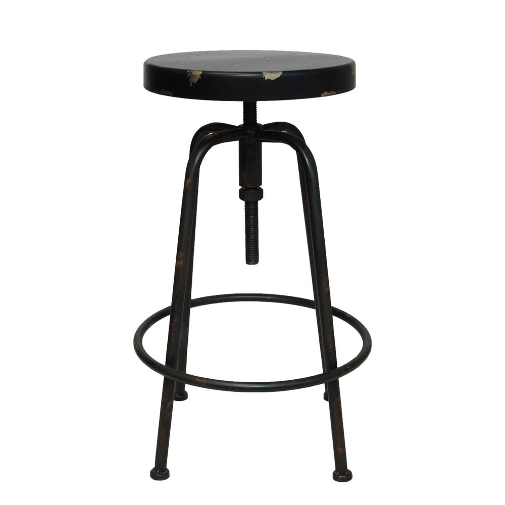 Urban Designs Vintage Round Adjustable Height  Metal Bar Stool