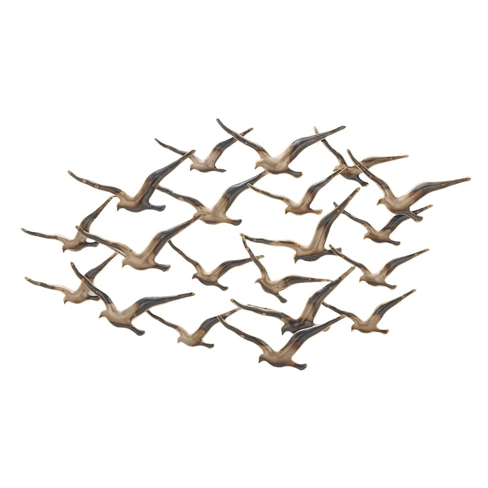 "Urban Designs Flying Flocking Birds 45"" Wide Metal Wall Art"