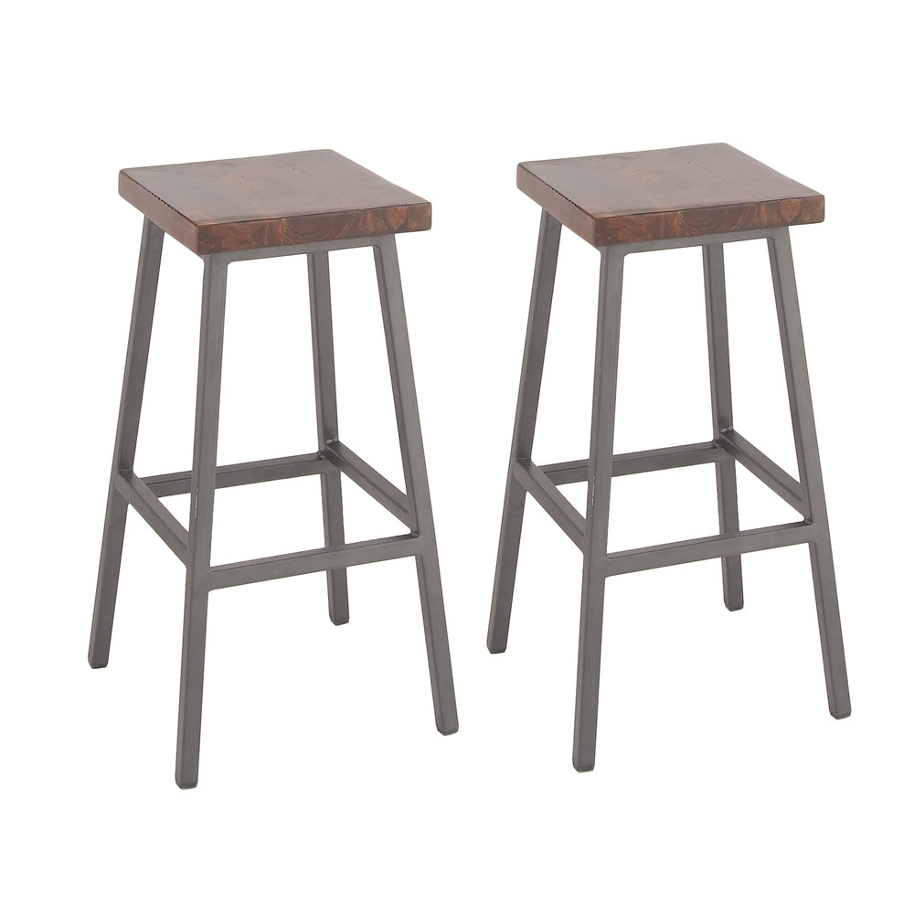 Urban Designs Square Wood Iron Bar Height Stool (Set of 2)