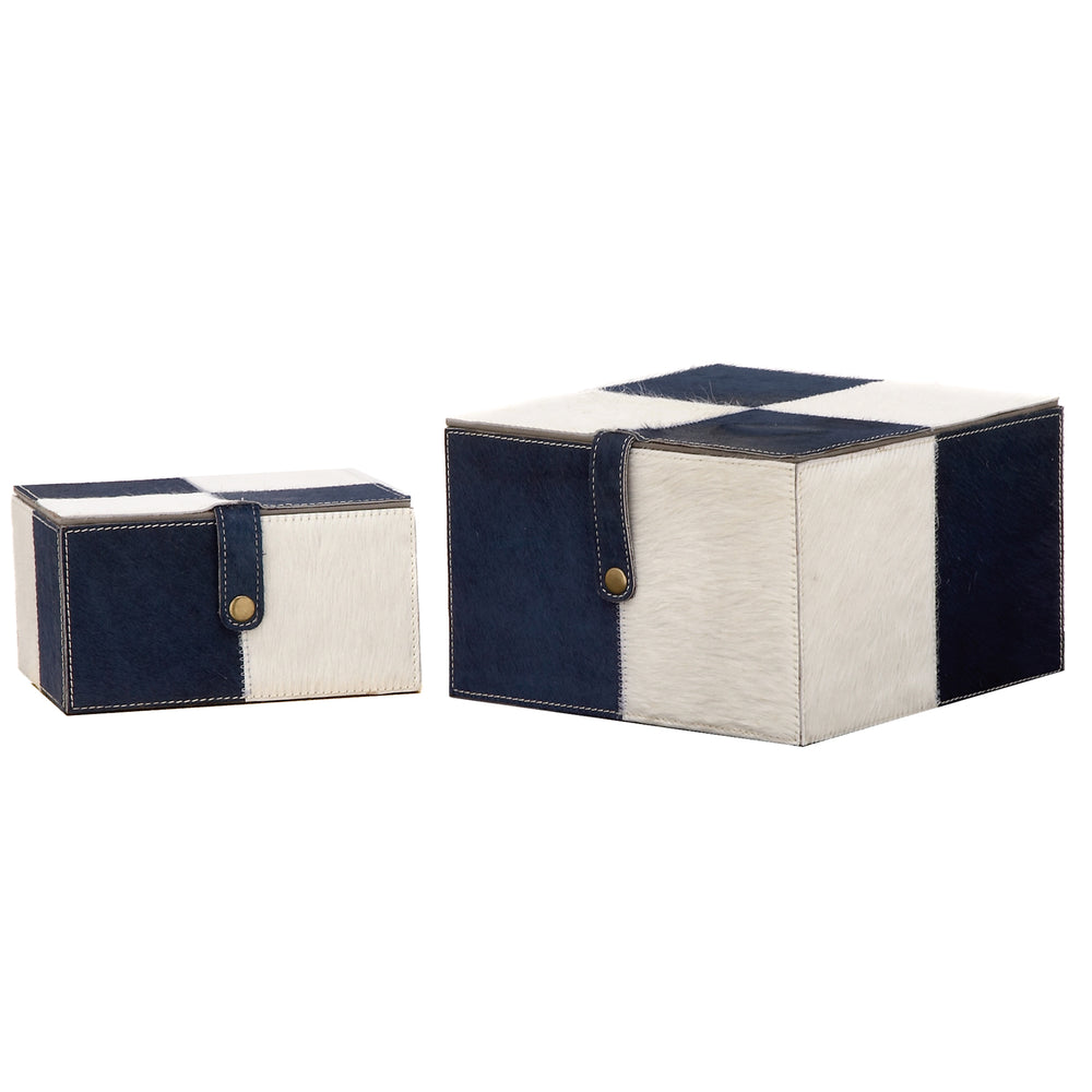 Urban Designs Leather Hand Made 2-Piece Keepsake Decorative Box Set