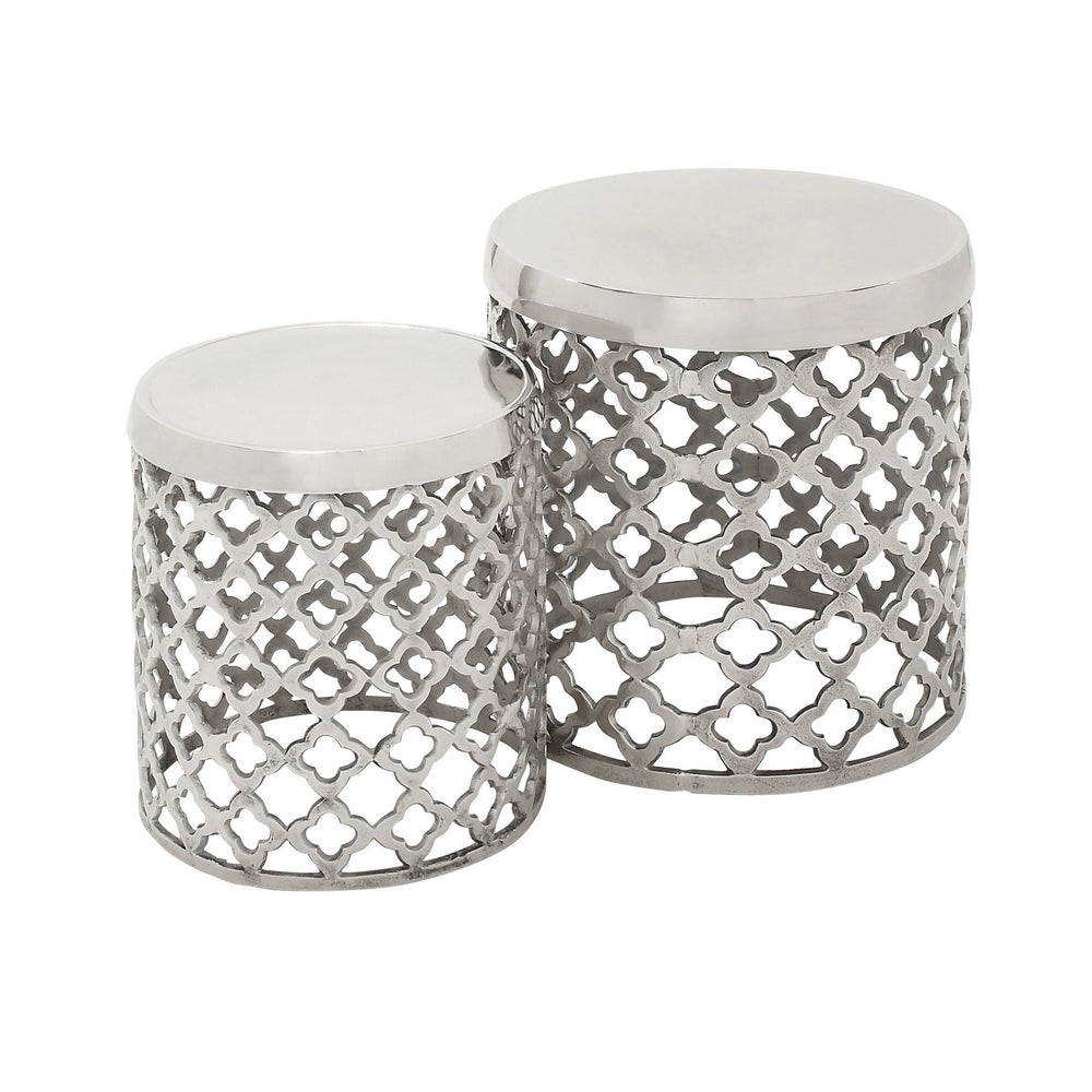 Urban Designs Aluminum Round Lattice Drum Stool - Set of 2