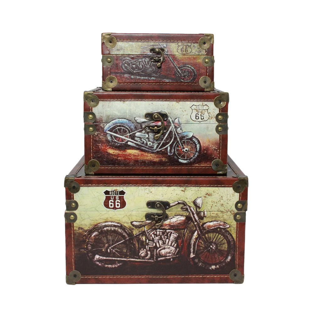 Urban Designs Old Fashion Route 66 Mortorcycles 3-Piece Decorative Box Set