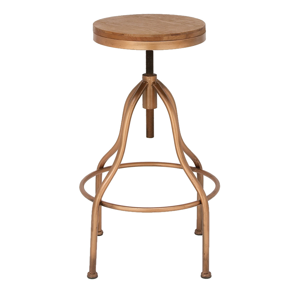 Urban Designs Jones Wooden-Top Adjustable Metal Bar Stool