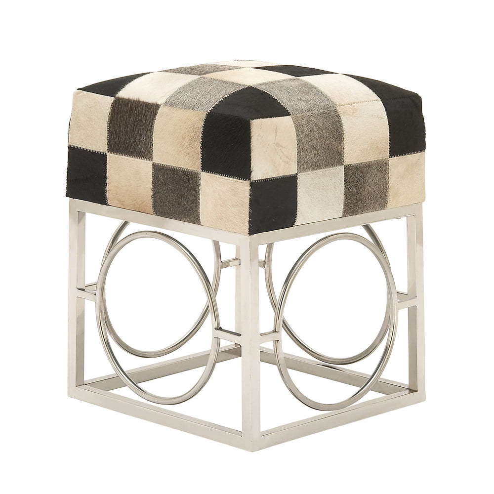 Urban Designs Checkered Hide and Nickel 21-Inch Accent Ottoman Stool