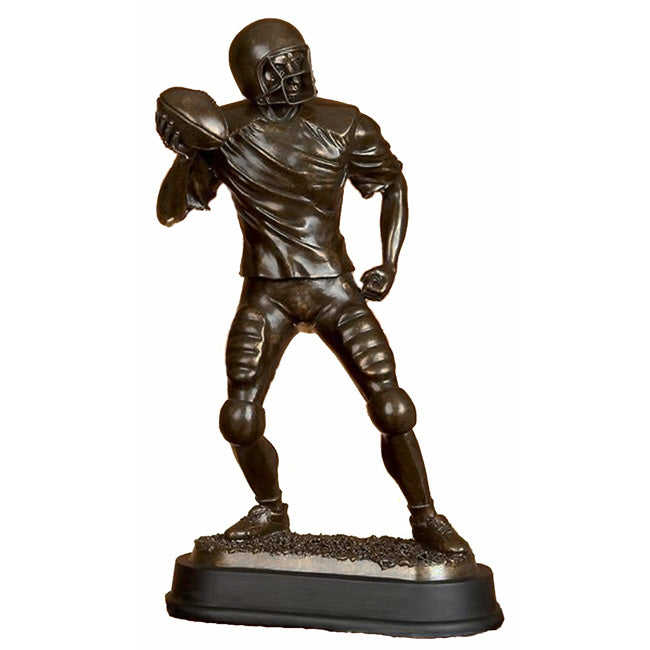 "Urban Designs 17"" Pro Football Player Quaterback Sculpture - Bronze Finish"