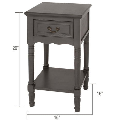 Urban Designs Solid Wood Night Stand Table - Grey