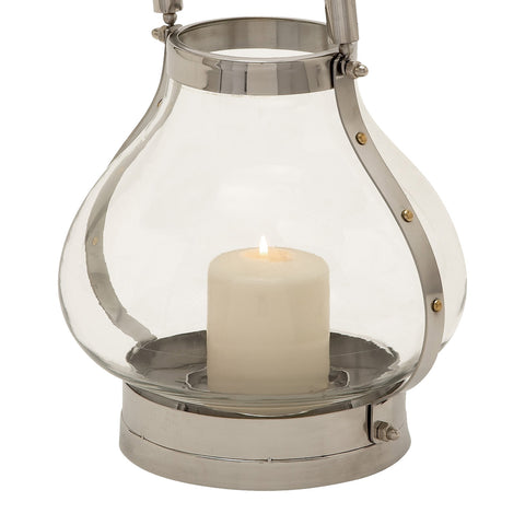 "Urban Designs Polished Stainless Steel & Glass Contemporary 11"" Lantern"